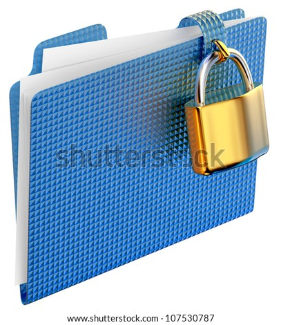 the blue folder with golden hinged lock stores important documents - stock photo