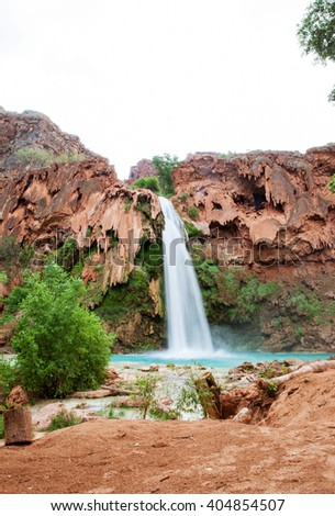 The blue-green waters of Havasu Creek in Grand Canyon, Arizona - stock photo