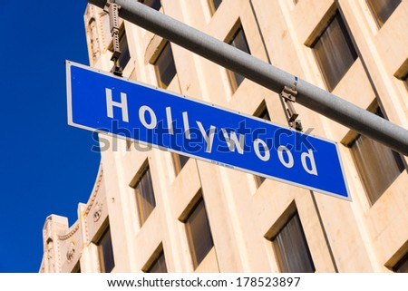 The blue Hollywood Blvd. Street sign - stock photo