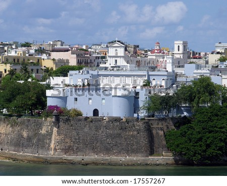 The blue house of president in the old city of San Juan, the capital of Puerto Rico. - stock photo