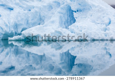 The blue icebergs of Narsusuaq Fjord in Greenland - stock photo
