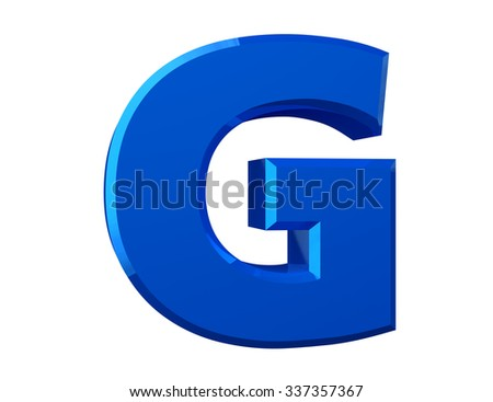 the blue letter G on white background 3d rendering - stock photo
