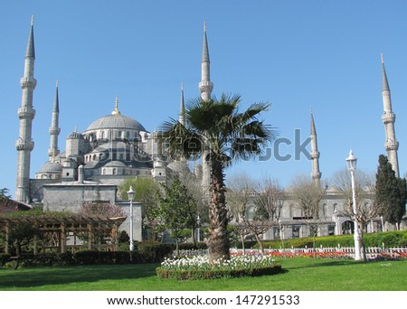 The Blue Mosque (Sultan Ahmed Mosque) built in the early 1600s - stock photo