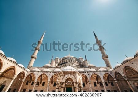 The Blue Mosque, Sultanahmet Camii, Istanbul, Turkey. - stock photo