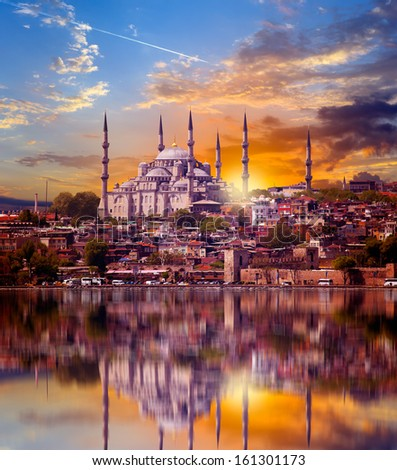 The Blue Mosque view from Bosporus strait (Sultanahmet Camii), Istanbul, Turkey  - stock photo