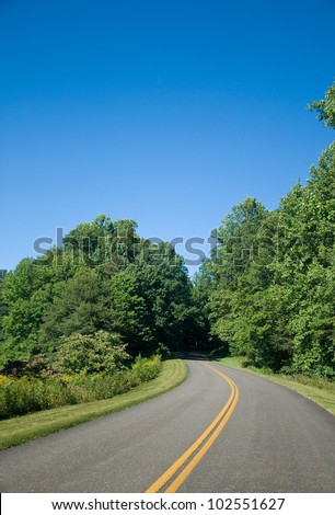 The Blue Ridge Parkway on a Clear Summer Day - stock photo