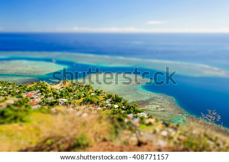The Blue Tropical Lagoon of Moorea, one of the most visited island in French Polynesia. Tilt-shift effect applied - stock photo