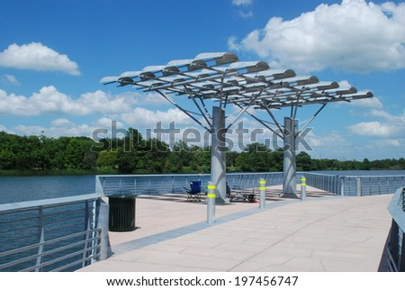 The Boardwalk Trail at Lady Bird at the City of Austin Texas, completing the ten point one mile hike and bike trail. - stock photo