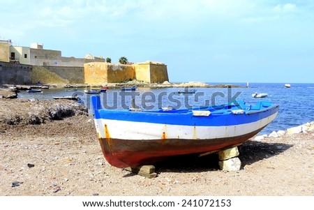 The boat on the seashore - stock photo