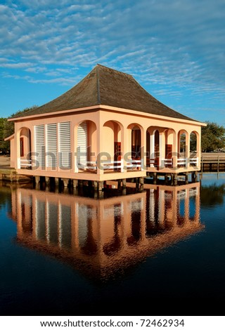 The Boathouse at the Whalehead Club at the Currituck Heritage Park. - stock photo