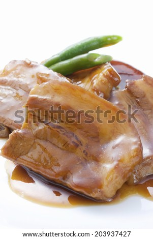 The Boiled Pork Seasoning With A Sauce - stock photo