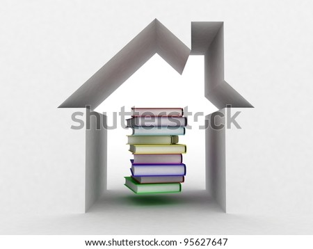 The book and the house conceptually, 3D  images - stock photo
