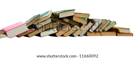 The Books built in high pile. - stock photo