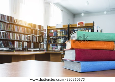 The books in the library - stock photo