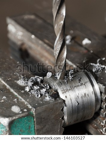 the boring machine in work - stock photo