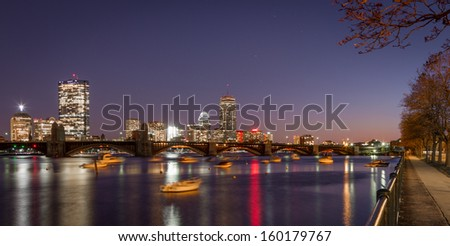 The Boston skyline from Cambridge near the museum of Science - stock photo