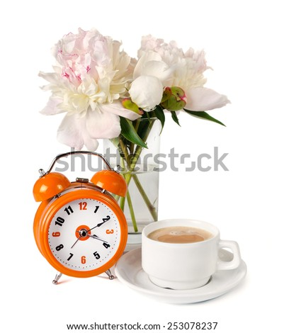 the bouquet of peonies, alarm clock and cup of coffee are isolated on the white - stock photo