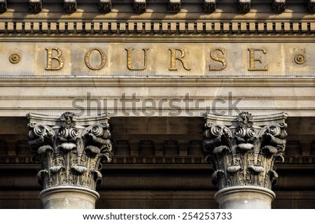 The Bourse, Paris stock exchange in France - stock photo
