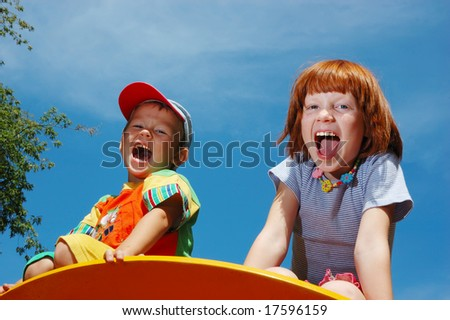 The boy and the girl shout - stock photo
