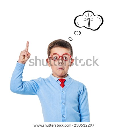 The boy comes up with ideas and having fun in the studio - stock photo