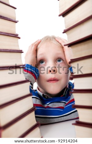 the boy in the book world - stock photo