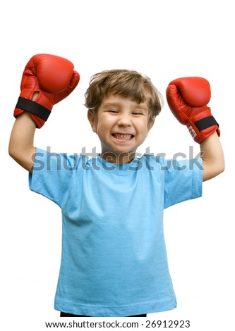 The boy representing the winner in a boxing duel - stock photo