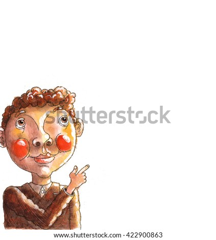the boy shows a finger,watercolor,children's book illustration,drawing - stock photo