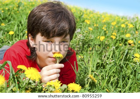 The boy smells a flower on a lawn in flowers - stock photo