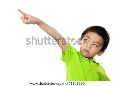 The boy smiles and shows a finger up - stock photo