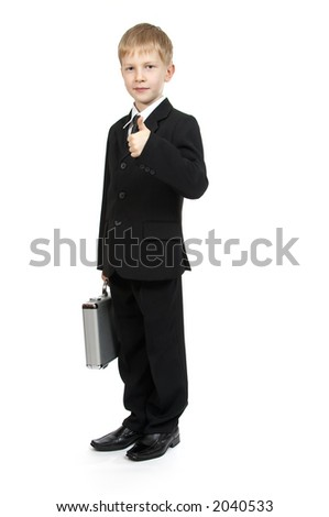 The boy with a case. - stock photo