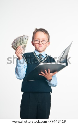 The boy with an open folder for papers and dollars in hands on a white background - stock photo