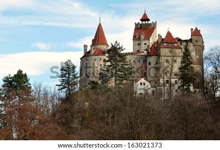 The Bran Castle from Romania seen in an autumn day. - stock photo