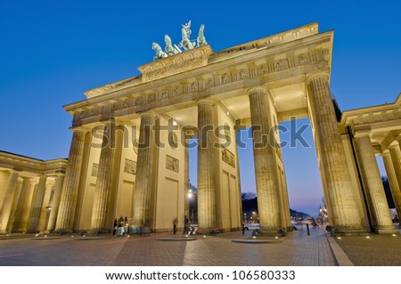 The Brandenburger Tor (Brandenburg Gate) is the ancient gateway to Berlin, Germany - stock photo