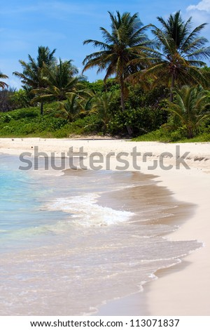The breathtaking Flamenco beach on the Puerto Rican island of Culebra with palm trees and white sands. - stock photo