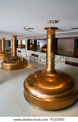 the brewery in Pilsen (cooking room) - Czech Republic - stock photo