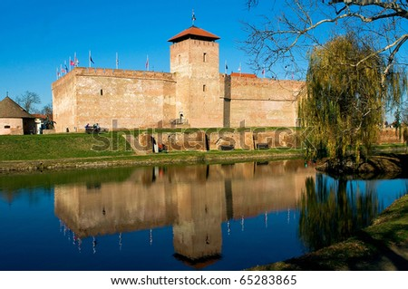 The brick made castle of the Hungarian city of Gyula - stock photo