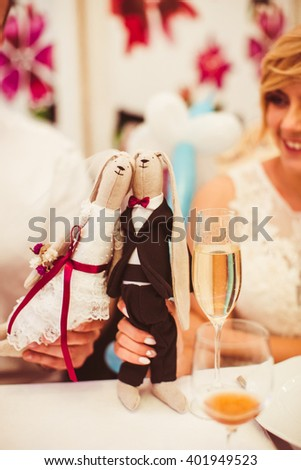 the bride and groom a good time on  wedding - stock photo