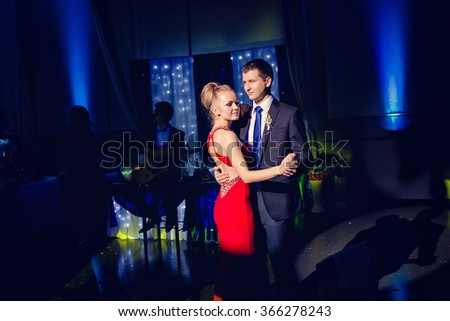 the bride and groom Couple dancing tango. - stock photo