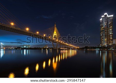 The Bridge across the river at twilight, The Industrial Ring Road - stock photo