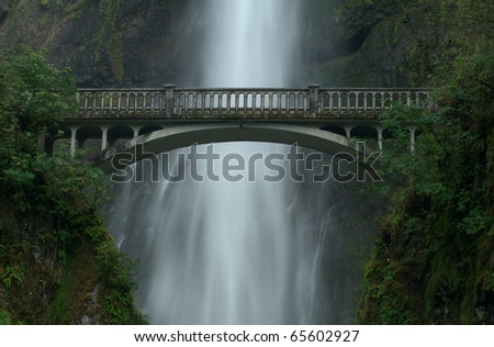The bridge at Multnomah Falls - stock photo