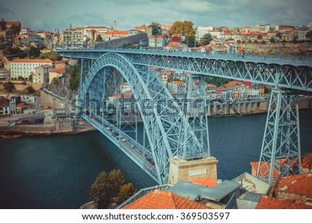 The bridge Luis I in Porto with selective focus. - stock photo
