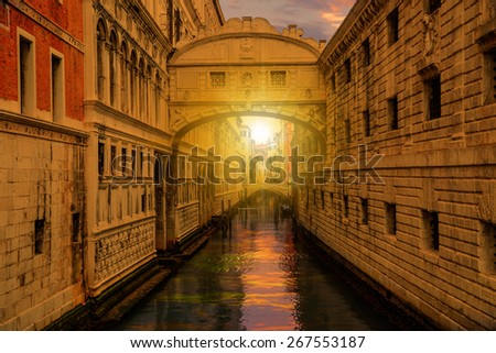 The Bridge of Sighs (Ponte dei Sospiri) in Venice Italy - stock photo
