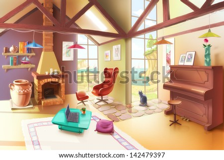 The bright and cozy living room with the fireplace, armchair, piano, small coffee table and the antique vase. The house is standing at the seaside with a great view through the large windows. - stock photo