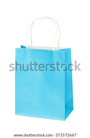 The bright blue paper package, bag for gifts or purchases isolated on the white - stock photo