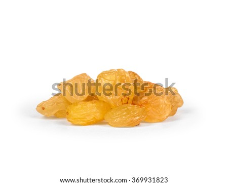 the bright heap of raisins isolated on white background - stock photo