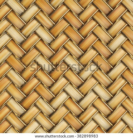 the bright wooden texture of rattan with natural patterns - stock photo