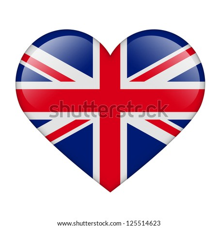 The British flag in the form of a glossy heart - stock photo