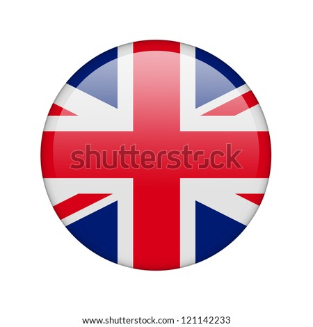The British flag in the form of a glossy icon. - stock photo