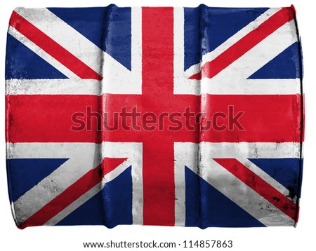 The British flag painted on oil barrel - stock photo