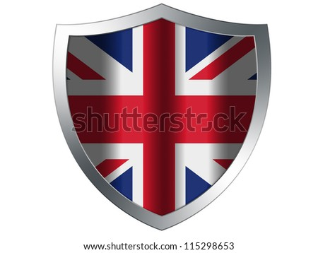 The British flag painted on protection shield - stock photo